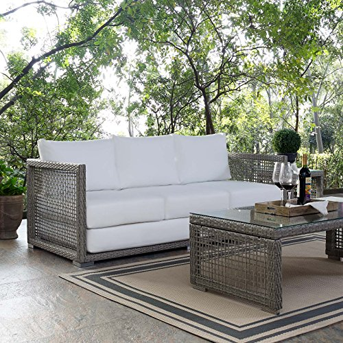 Modway EEI-2923-GRY-WHI Aura Outdoor Patio Wicker Rattan...