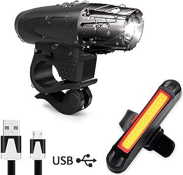AMANKA Luz Bicicleta USB, Linterna Bicicleta Impermeable con Luz ...