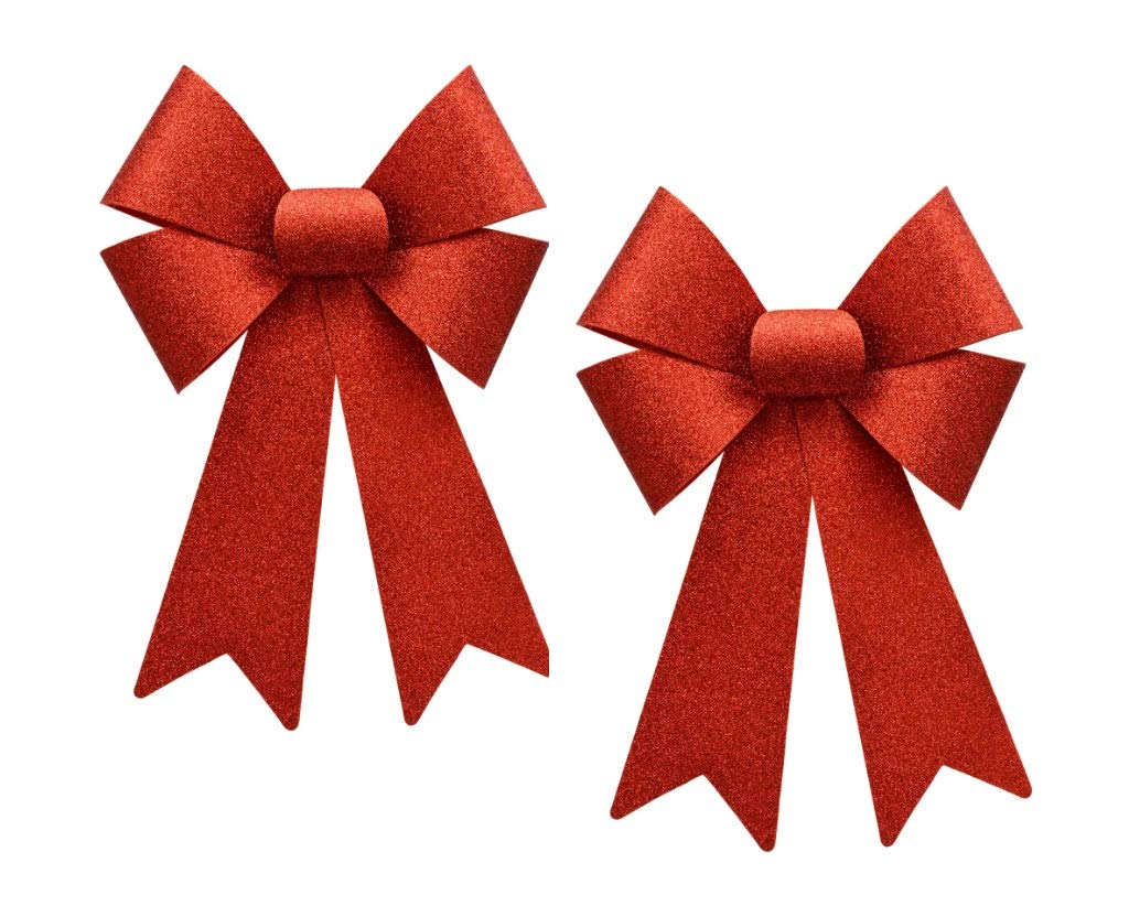 A&T Designs Set of 2 Red Glitter Mini 7' Decorative Bows (Christmas Holiday, Home Decor, Tree, Wreath, Mantel, Gift) HomeDecor