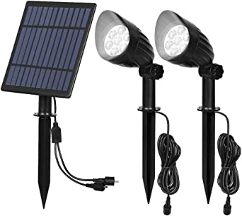 T-SUN Foco Solar, Lámparas Solar Luces Exterior 14LED Luz de Jardín Focos Impermeable con 9.8ft Cable, 6000K Blanco Frio, Apliques de Pared Solar con 10 Horas para Jardín Patio Camino.: Amazon.es: Iluminación
