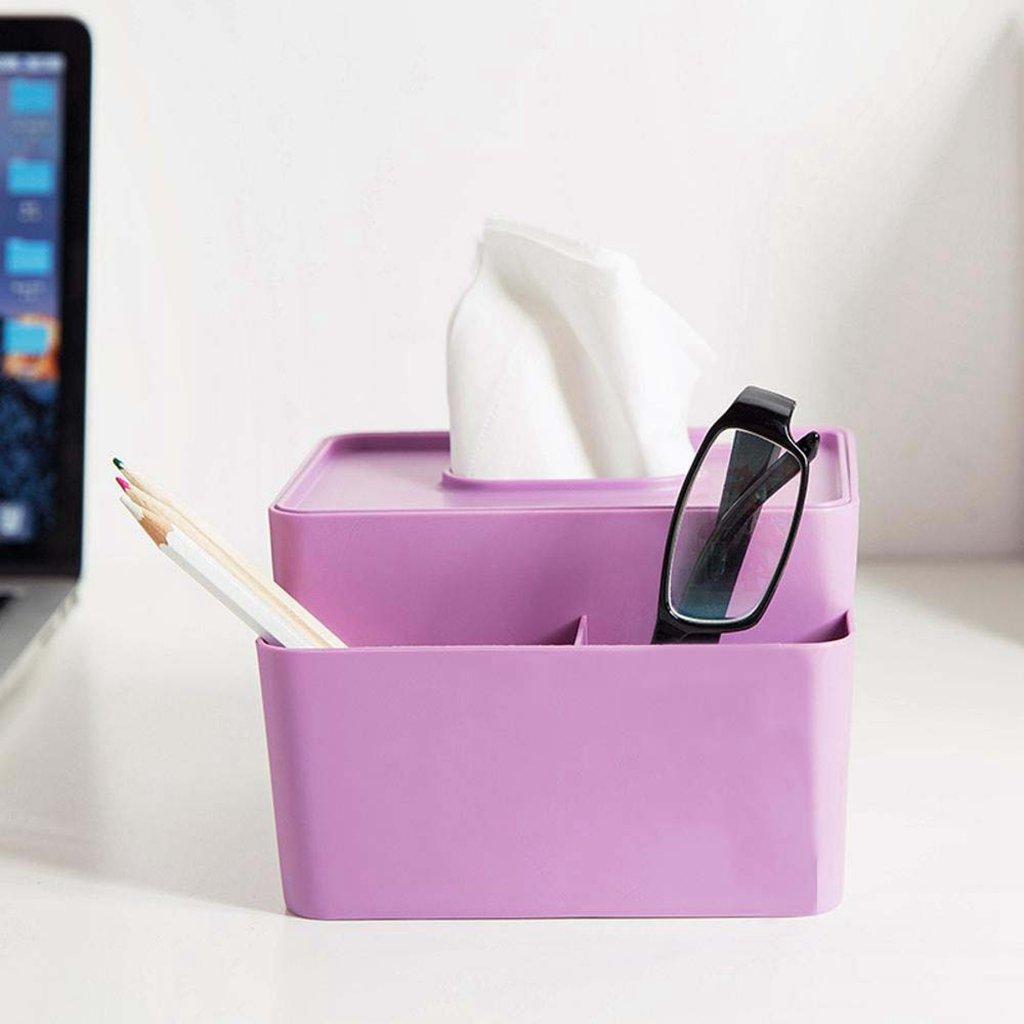 kaximaプラスチックティッシュボックス、正方形、Officeデスクトップストレージトレイ、ストレージボックス、2、16 x 3014.5 X 10 cm パープル 6928533320942  パープル B077R24X27