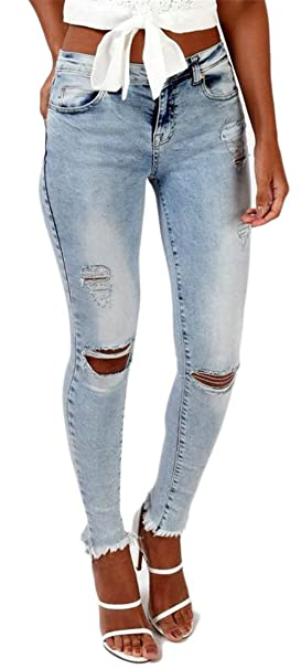 price reduced choose original comfortable feel Revolutee Womens Hole Destroy High Rise Faded Washed Ripped ...