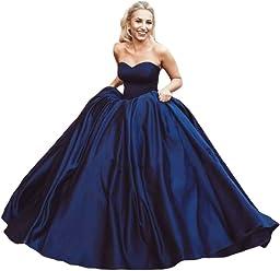 7d3453679bcfb Dreagel Women's Ball Gown Prom Dresses Long Strapless Formal Evening Gowns  2018