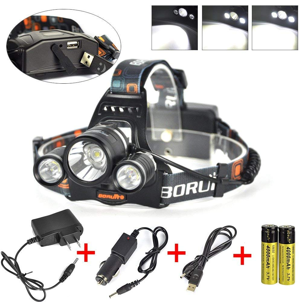 Boruit Newest!! 3X XM-L2 T6 LED Beads 15000 Lumens Headlamp 4 Modes with Rechargeable Batteries,Wall & Car Charger,USB Charging Cable for Camping,Hiking,Reading,Bike,Hunting&Fishing Lighting by BORUIT