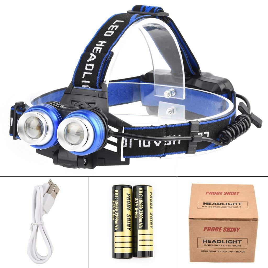 Meet&sunshine Headlights, Probe Shiny Head-Mounted Glare Rechargeable Headlight 2T6 Outdoor Camping Light (C)