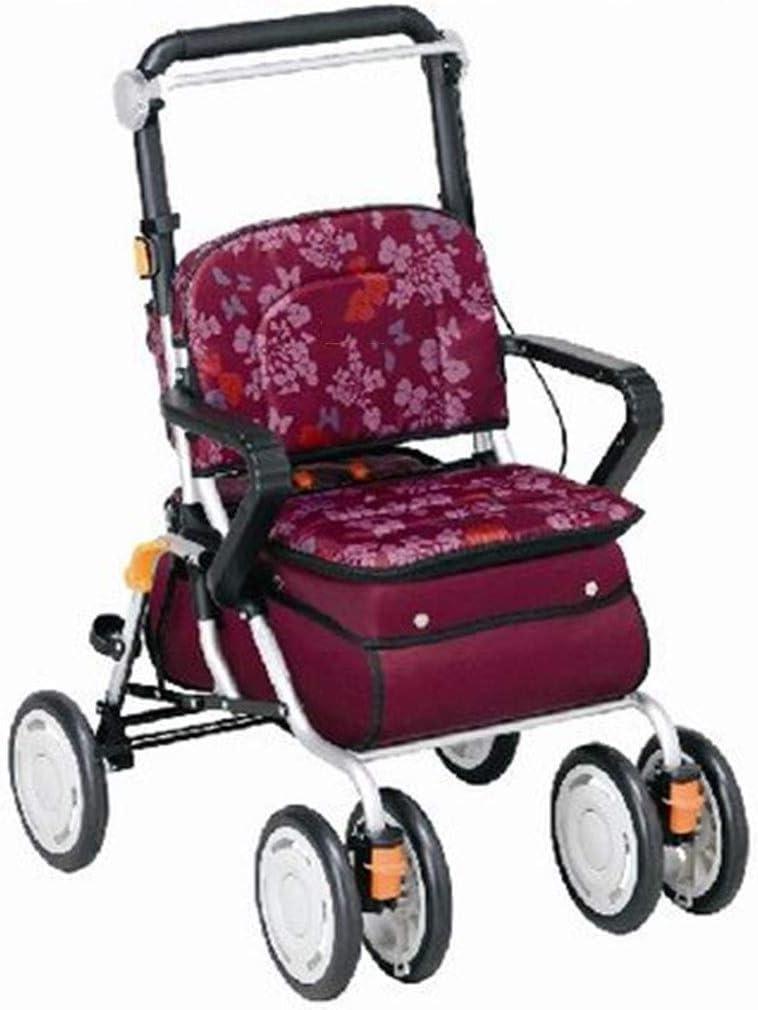 Muletas Walker Old Man Carro De Compras Plegable Trolley Ligero Silla De Ruedas Portátil De Viaje con Asiento Andador De Cuatro Ruedas Regalo (Color : Red, Size : 37 * 54.5 * 77 cm)