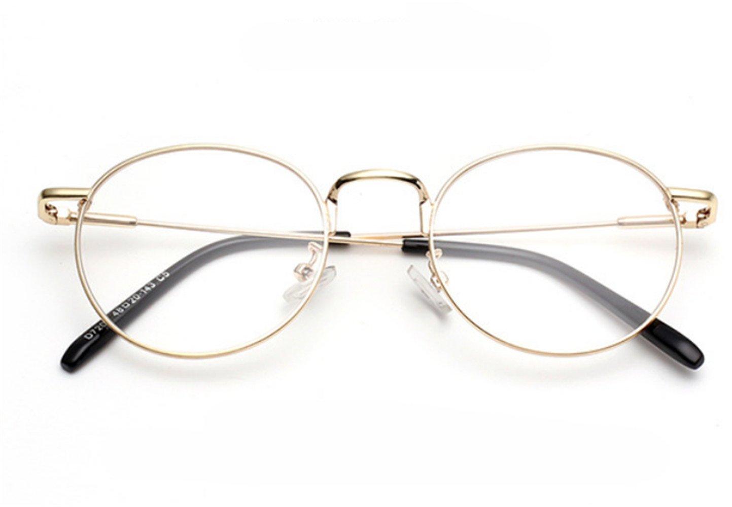 Gafas transparentes redondas doradas