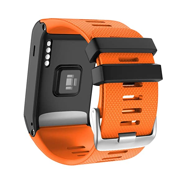 ANCOOL Compatible with Garmin Vivoactive HR Bands Soft Silicone Watch Bands Replacement for Garmin Vivoactive HR Smartwatch - Orange