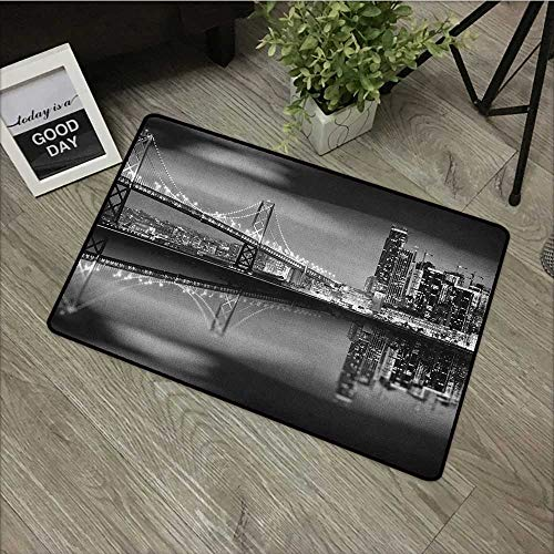 Meeting Room mat W31 x L47 INCH Black and White,San Francisco Bay Bridge Metropolis Panorama View with Skyscrapers, Black Grey White Natural dye Printing to Protect Your Baby's Skin Non-Slip -
