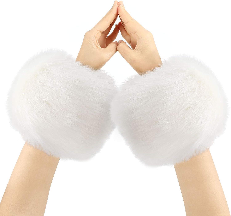 Warm Halten bei K/älte PHOGARY Faux Pelz Armstulpen Fellstulpen Pulsw/ärmer f/ür Frauen Geschenk f/ür M/ädchen Halloween-Weihnachtskost/üme Partyzubeh/ör
