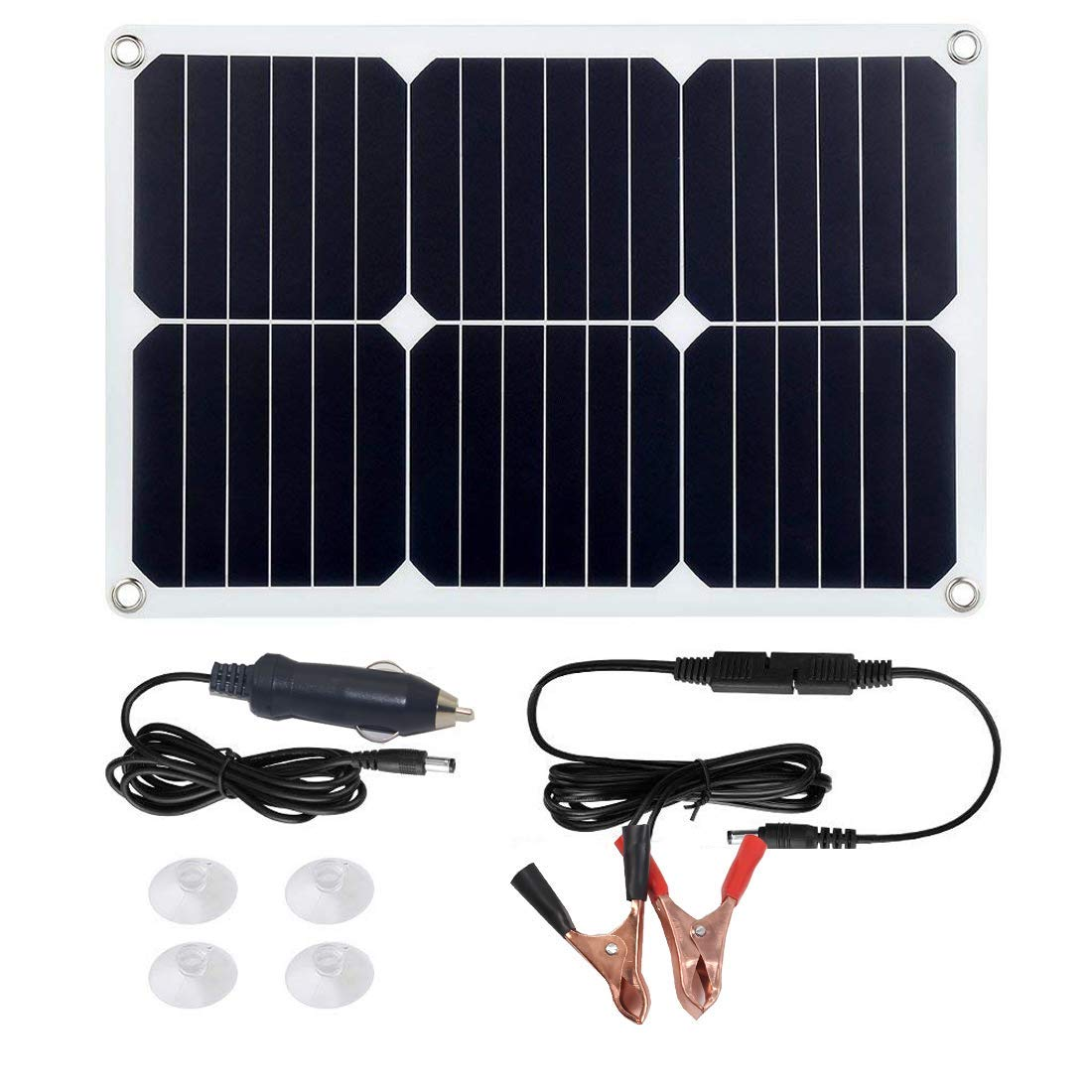 Betop-camp 18V 12V 18W Solar Car Power Battery Charger, Portable Solar Panel Trickle Charger with Cigarette Lighter Plug, Suction Cups, Maintainer for Automobile Motorcycle Boat