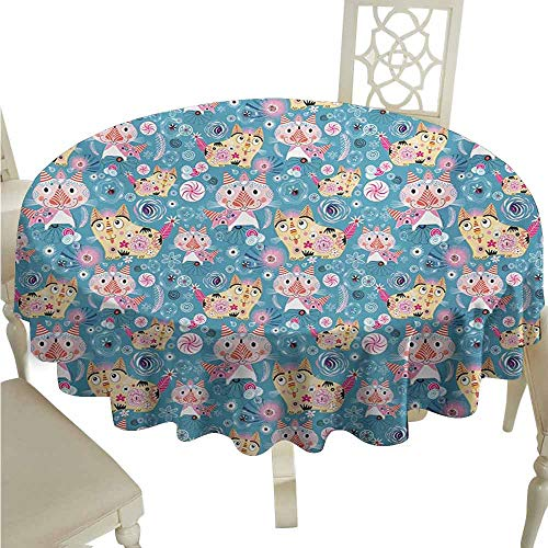 duommhome Cat Durable Tablecloth Ornamental Figures on Cartoon Style Pet Kittens Abstract Swirls and Flowers Pattern Easy Care D71 Multicolor