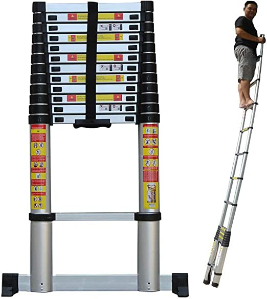 ZAQI Escalera Extensible Escalera telescópica Escalera telescópica Alta de 5 m / 6 m / 7 m / 8 m con Barra estabilizadora, Escalera de extensión de Aluminio for Techo Industrial for el hogar, 150 kg: Amazon.es: Hogar