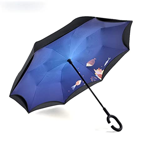 Paraguas Reversible Completamente automático/Paraguas Manos Libres de Doble Capa/Paraguas Reversible de Mango