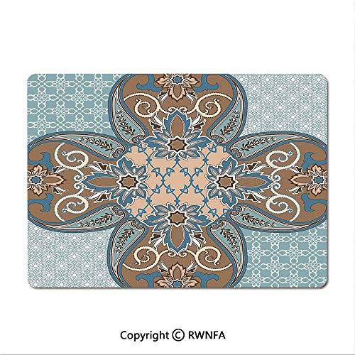 Waterproof Keyboard pad,Colorful Patchwork Art Oriental Patterns Ornaments Cultural Illustration Print(8.3