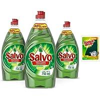 Salvo Limón Lavatrates Líquido Concentrado de 750 ml, 3 Unidades + 1 Esponja