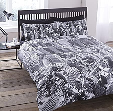 0f6a1d52554 LUXURY NEW YORK CITY SKYLINE MANHATTAN SCENERY VIEW PHOTOGRAPHIC DUVET SET  QUILT COVER BEDDING (King Size): Amazon.co.uk: Kitchen & Home