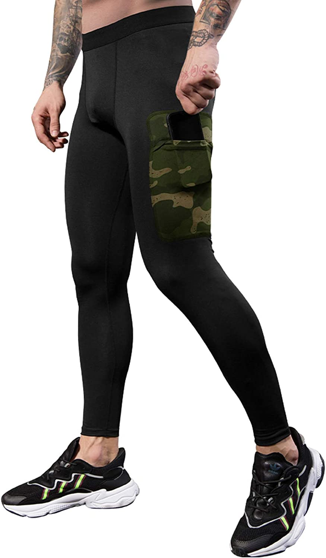 JEPOZRA Men Compression Pants Sports Stretch Athletic Running Leggings Men Base Layers