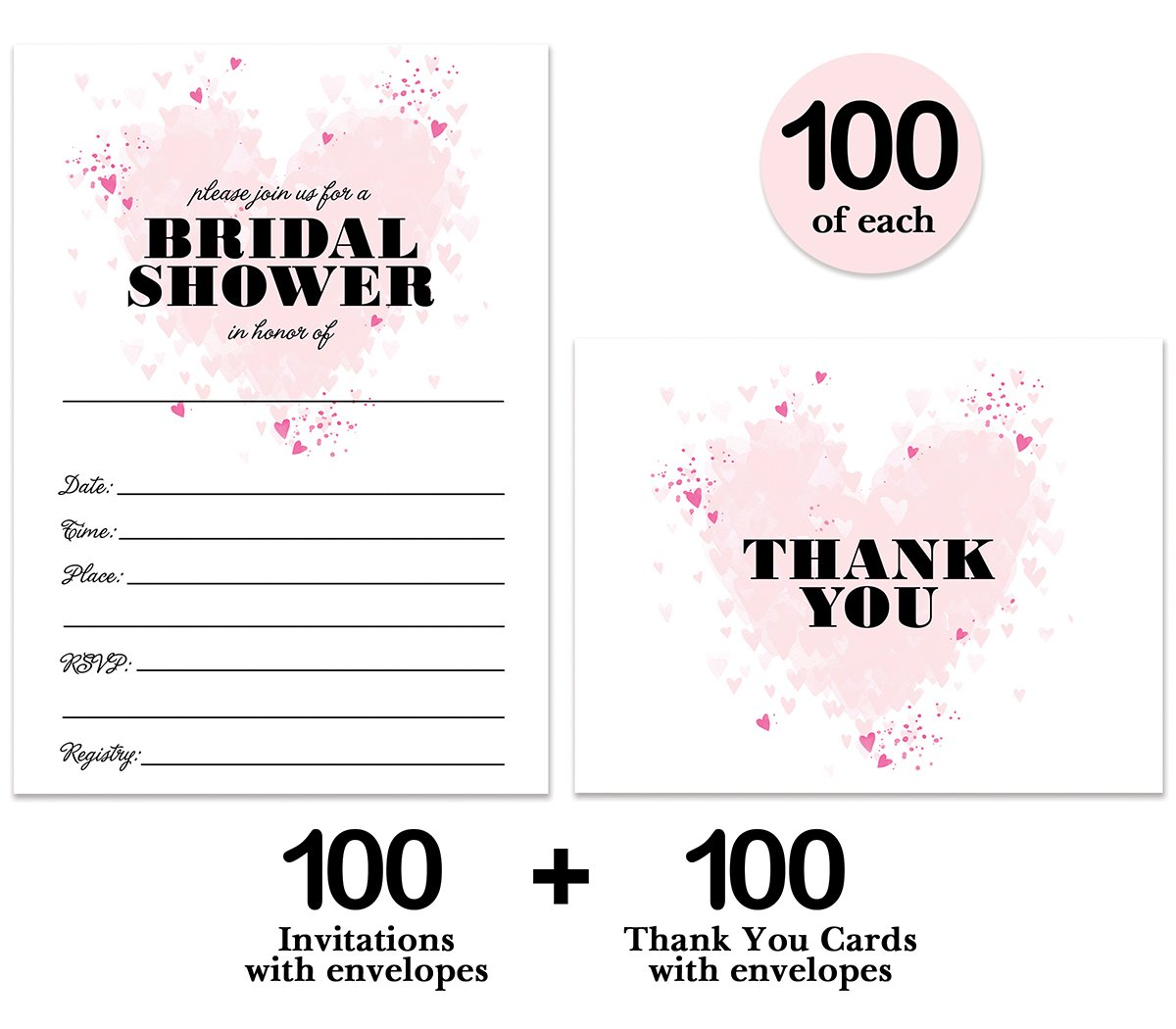Bridal Shower Invitations & Thank You Cards with Envelopes Matched Set ( 100 of Each ) Beautiful Pink Hearts Write-in Invites & Bride's Wedding Party Gift Folded Thank You Notes Best Value Combo Pair by Digibuddha (Image #2)