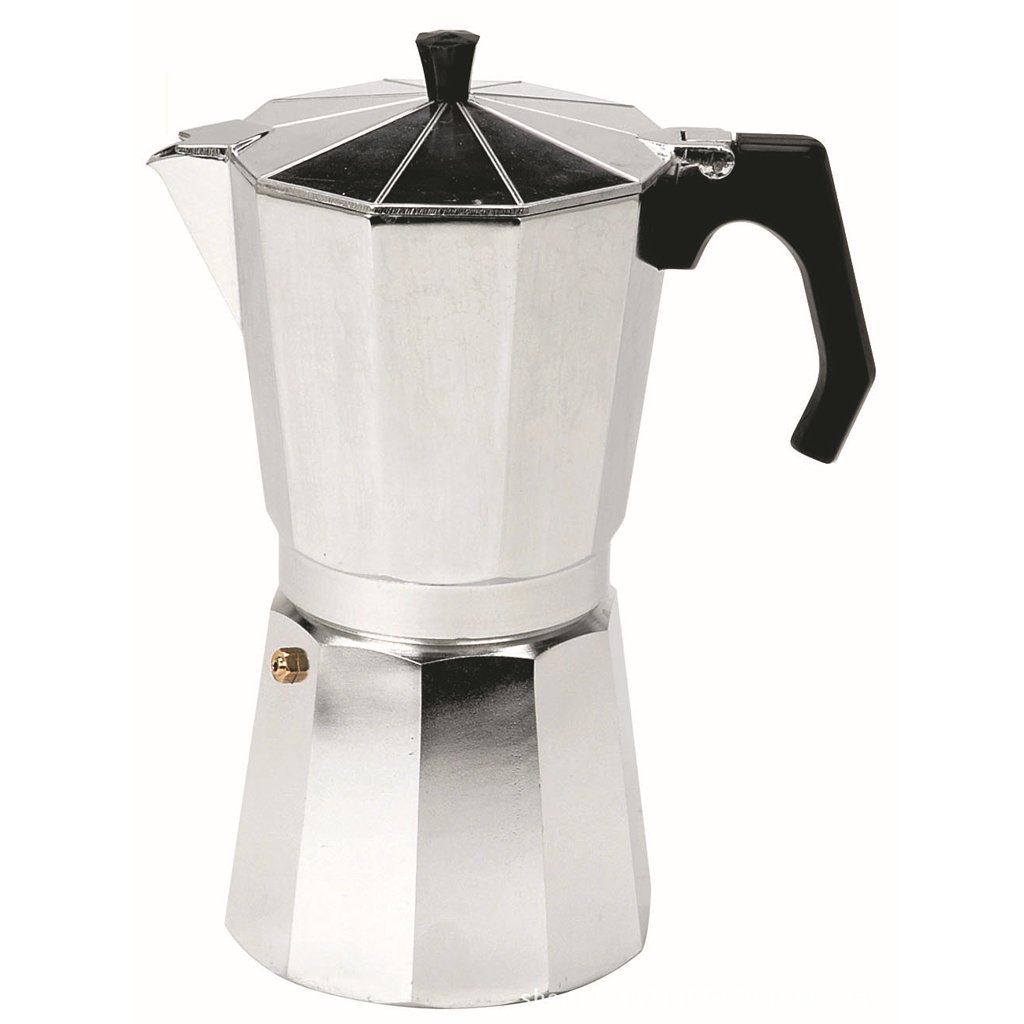 Jili Online Aluminum 3/6/9/12 Cups Coffee Moka Maker Pot Top Expresso Latte Stove Percolator Silver - Silver, 9 Cups