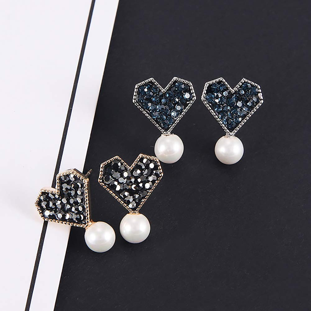 Polytree Earrings Rhinestone Inlaid Love Heart Faux Pearl Ear Studs for Women Girls Jewelry Charms