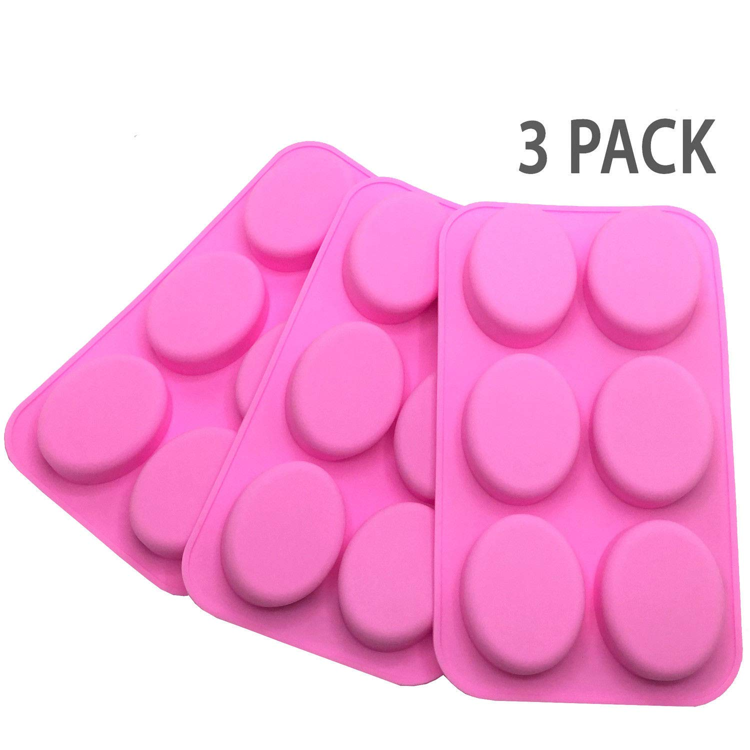 [Set of 3] 6 Cavity DIY Handmade Oval Silicone Mold for Soap Bar ~ US Seller