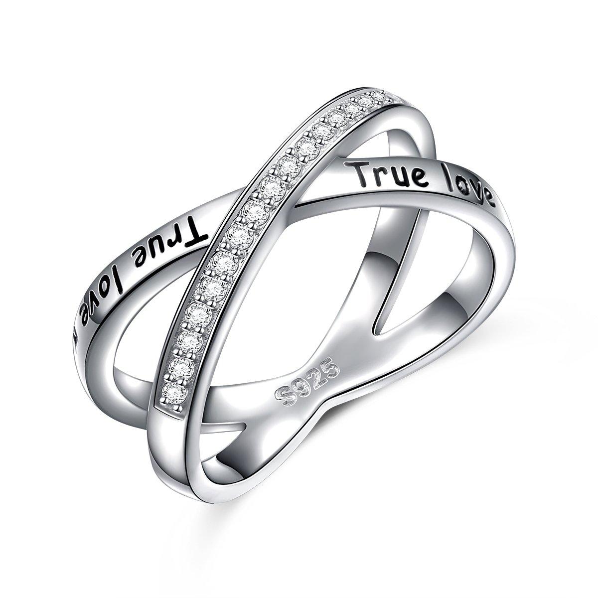S925 Sterling Silver True Love Waits Infinity Criss Cross Rings for Women Lady (6)