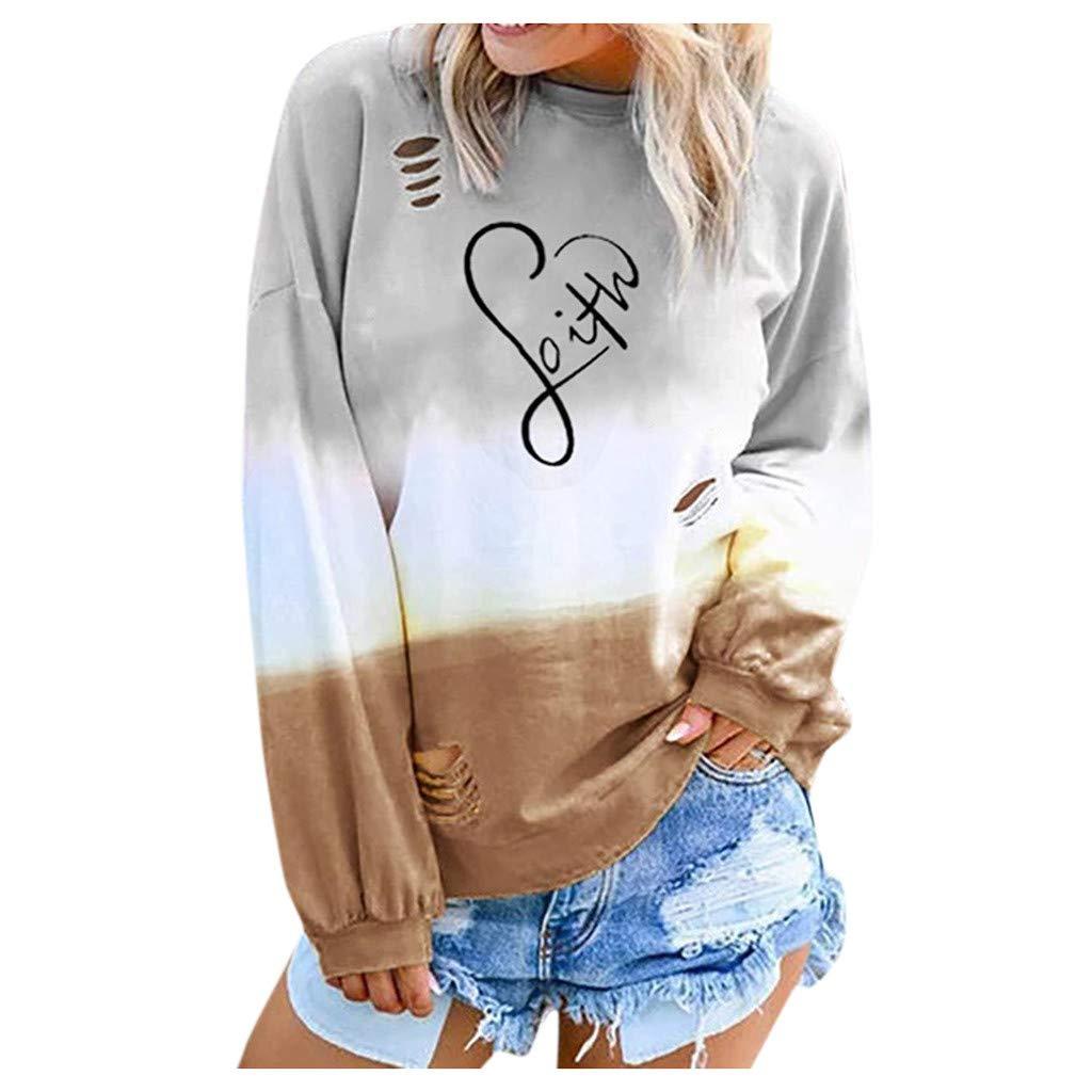 Kengqin Womens Gradient Long Sleeve Blouse foith Shredded Sweatershirt Tops