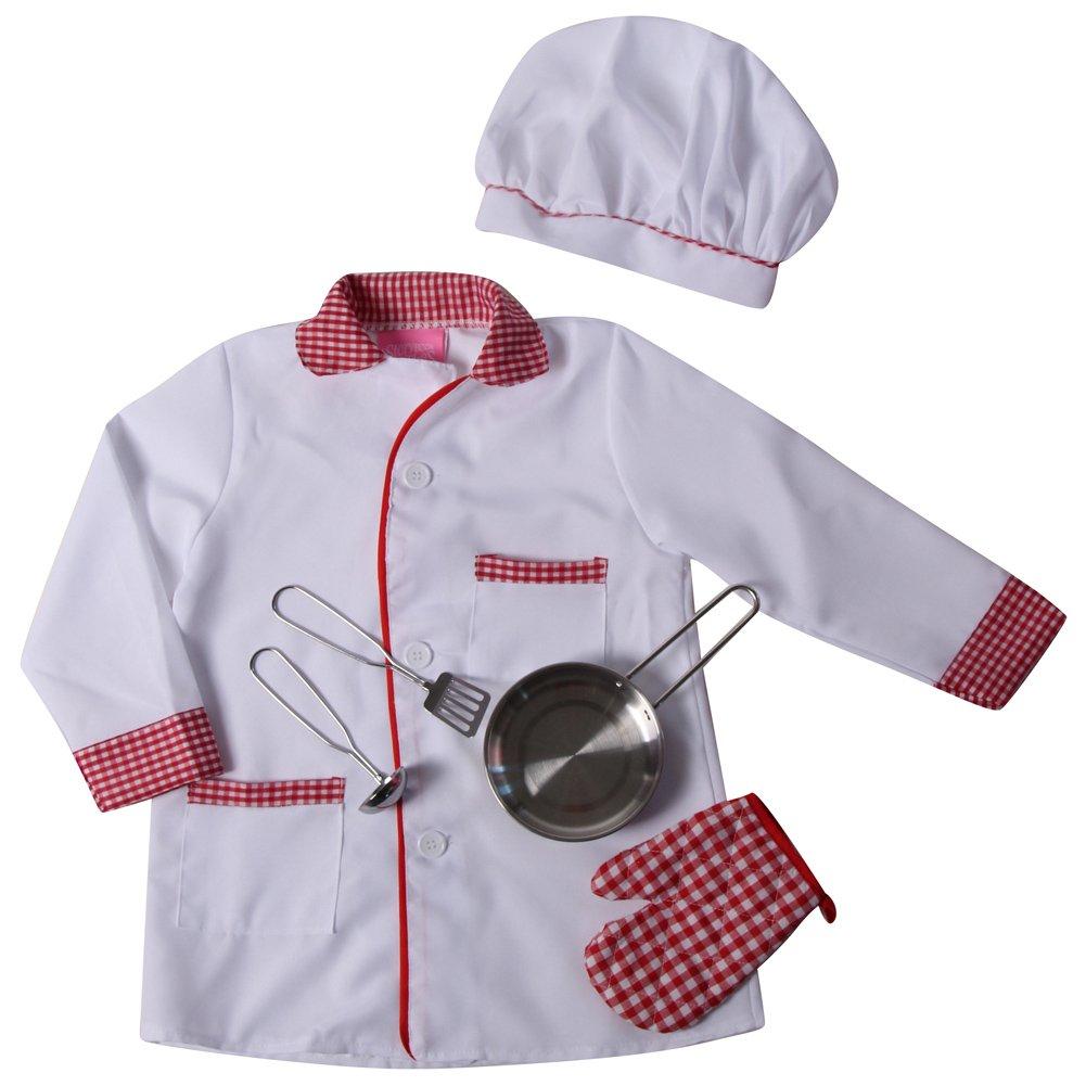 Making Believe Kids Chef Pretend Playセット – ジャケット、帽子&フライパンセット(サイズ選択) B001IQJ4NY 2/4|ホワイト/レッド ホワイト/レッド 43135