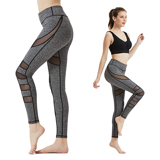 Modoker Mesh Leggings for Women,Workout Athletic Pants with Pocket Power  Flex Compression Tights Yoga db88f3ec9