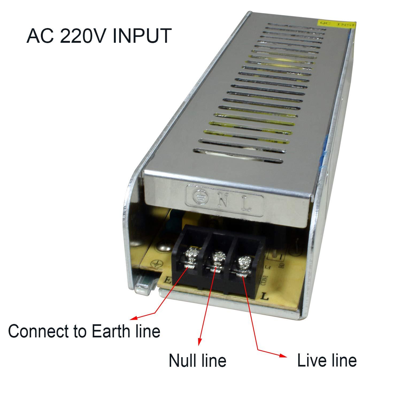 STBTECH 12V 15A 180W Transformador de Potencia Fuente de alimentaci/ón de Voltaje Adaptador Controlador de 220V AC a DC 12V Converter Para Tira de LED Light,Pantallas LED,Sistema de Vigilancia,Esbelta Sin ruido Facil de Ocultar