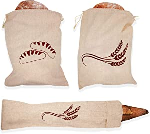 3 Pack- 100% Hand-printed Natural Flax Linen And Cotton Bread Bags for Homemade Artisan Bread & Reusable Food Storage, Large Loaf and Baguette Size(2-12.5 x 16 in, 1-27x6 in)