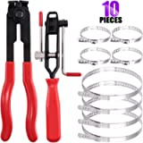 Swpeet 10Pcs CV Joint Boot Clamp Pliers with CV Boot Clamps Kit, Ear Boot Tie Pliers, Car Band Tool Kit, Automotive Hose…