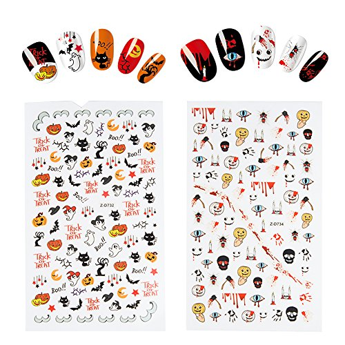 Fanme Halloween Nail Stickers 3D Nail Art Tattoo Decals DIY Nail Art Decoration Self-adhesive Tip Stickers 4Sheets (Halloween) by Fanme (Image #2)