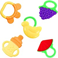 Baby Teethers, Pyhot 5pcs Baby Fruit Toddler Teething Toys Gums, Silicone FDA Approved BPA Free Baby Teether Toys