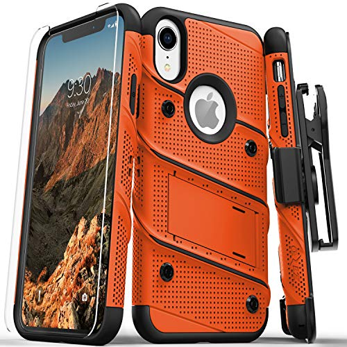 Orange Bolt - Zizo Bolt Series Compatible with iPhone XR Case Military Grade Drop Tested with Tempered Glass Screen Protector Holster and Kickstand Orange Black