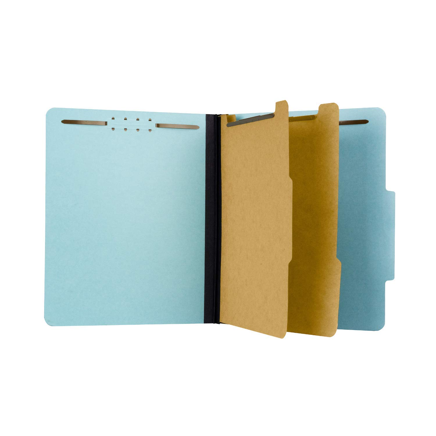 Pressboard Classification File Folder with 2 dividers and Fasteners, Letter Size, Blue, 2'' Expansion, Box 10 by The File King