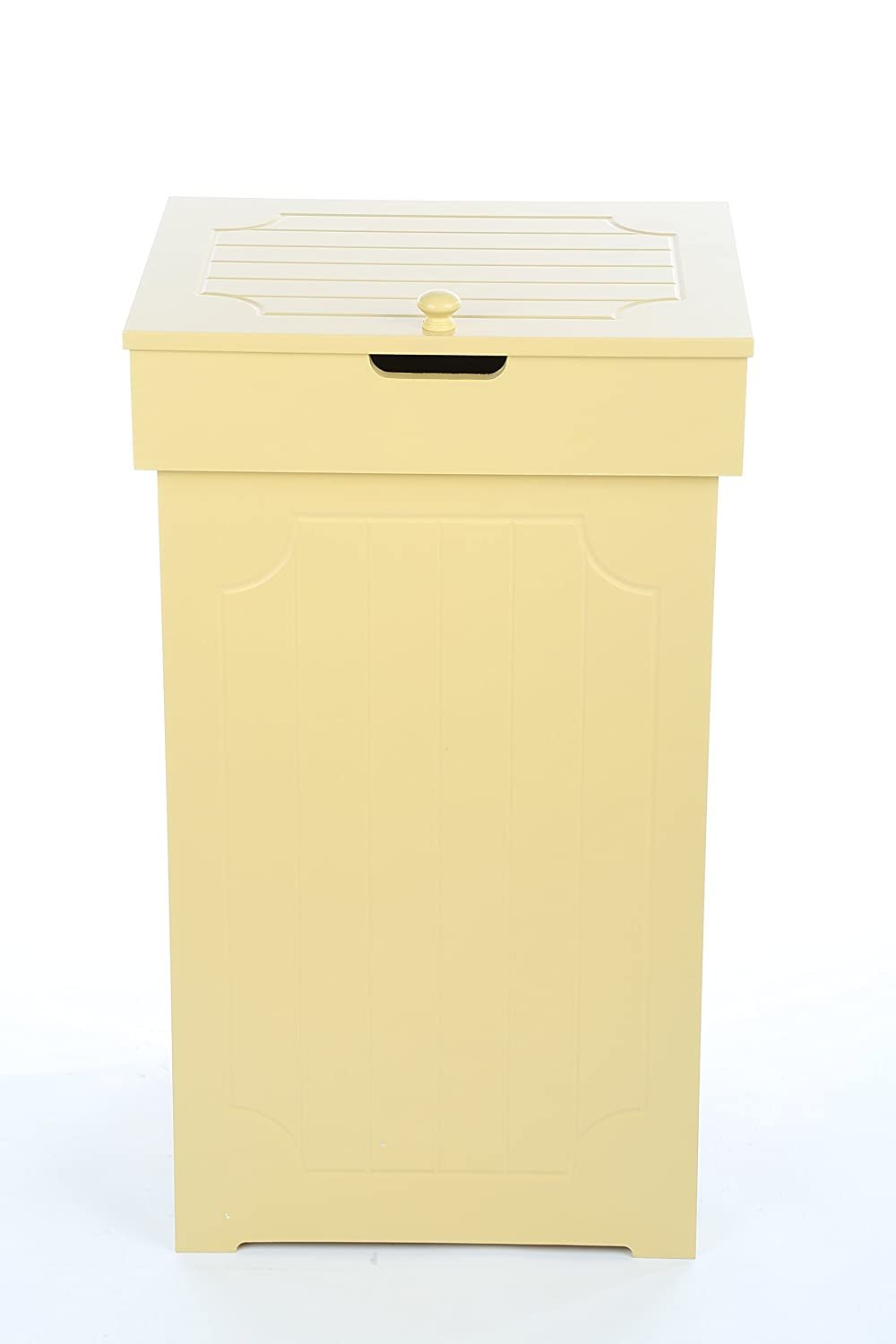 Homebi Trash Can Dustbin 13 Gallon Recycling Cans Wood Waste Bins Kitchen Trash Cabinet Space Saver Waste Basket with Lid in Yellow,16x13x26.5inch(WxDxH)