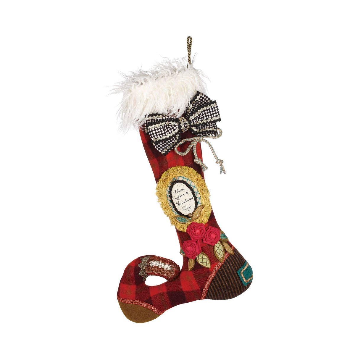 DEMDACO 21 inch Floria Once Upon a Christmas Day Plush Stocking Decoration