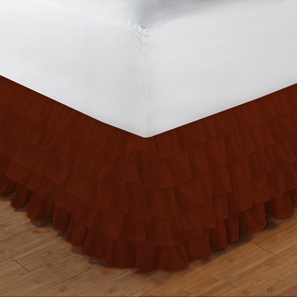 Floris Fashion Full XL 300TC 100% Egyptian Cotton Brick Red Solid 1PCs Multi Ruffle Bedskirt Solid (Drop Length: 13 inches) - Tailored Finish Super Comfy Easy Care Fabric