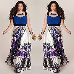 Plus Size Dress Luluzanm Ladies Women Floral Printed Long Evening Party Prom Gown Formal Dress Blue