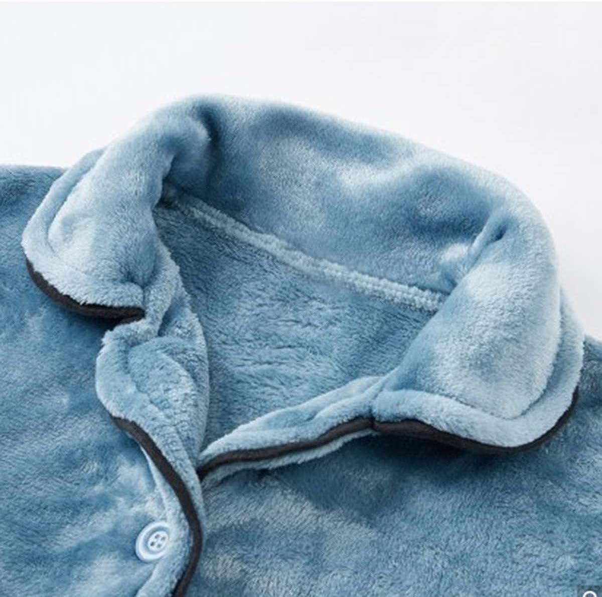 Unifizz Teen Girls 2-Piece Warm Fleece Lingerie Long Sleeve Nightgowns Pajama Top Pants Pjs Set Button Down Soft Casual
