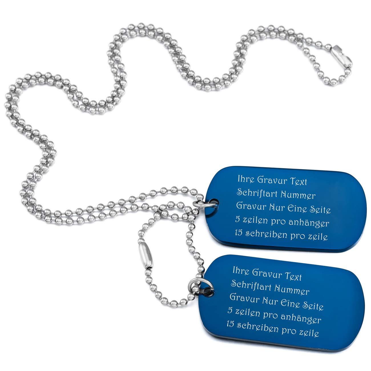 MeMeDIY Edelstahl Anhänger Halskette Doppel Doppelseitig Dog Tag 23 Zoll Kette, mit Kette Gravur de3030072-3