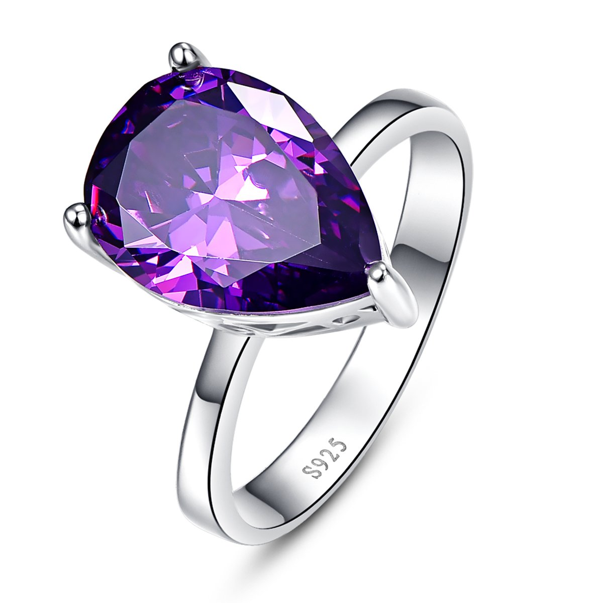BONLAVIE 925 Sterling Silver Pear Cut Created Amethyst Promise Engagement Wedding Ring for Women Size 7