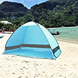AZLife Portable Anti-UV 3-4 Person Pop Up Beach Tent Sun Shelter with Carry Bag, Blue