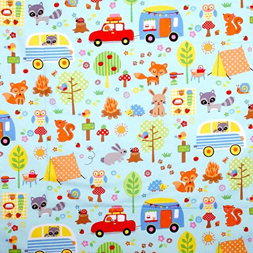 Dish Drying Mat - Pet Placemat - Appliance Mat - Dish Drainer - Woodland Camping Animals on Blue