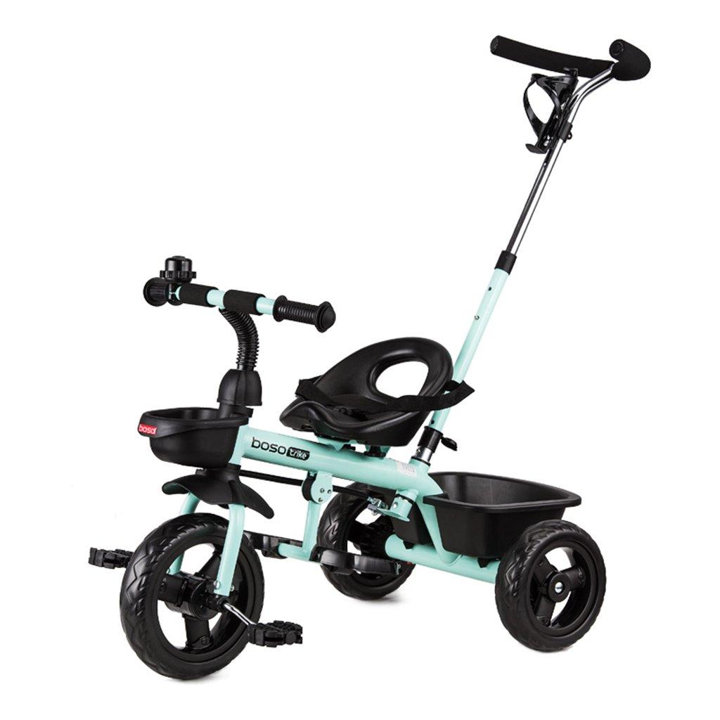 HAIZHEN マウンテンバイク 子供の三輪車フロントホイールクラッチは、軽いホイールハブの自転車ダブルブレーキ一押しプッシュロッドバスケット折りたたみペダルベビーバイク 新生児 B07DRZ7KPY 青 青