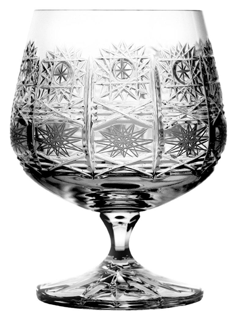 Crystaljulia 2157–Bicchieri Bicchiere da cognac per, cristallo al piombo, stella, taglio tradizionale, levigato a mano, 6pezzi in Set, 250ml