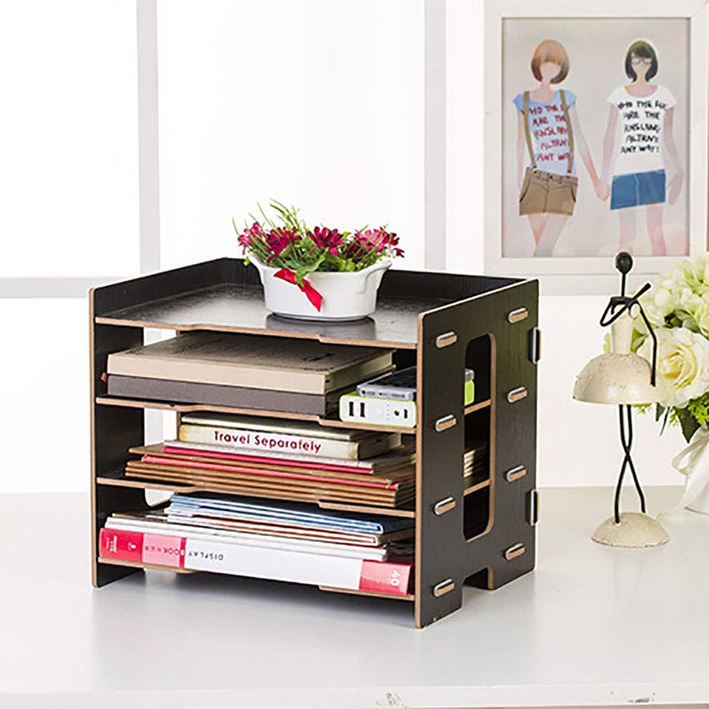 01 WYANG Clasificador de Documentos de Escritorio Organizador de Archivos de la Revista Office Rack de m/últiples Capas de la Oficina Moderna