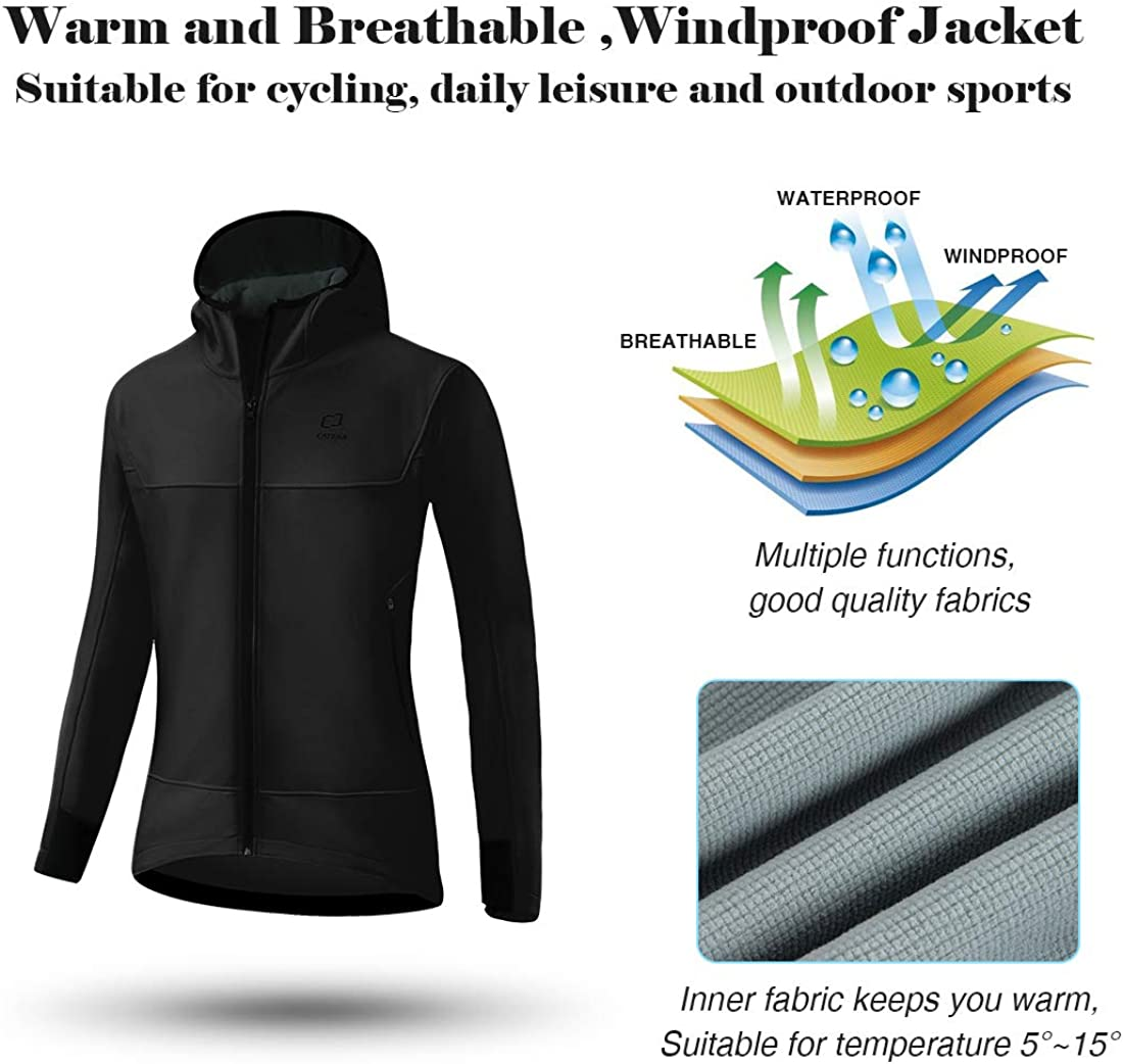 CATENA Womens Windproof Jacket Waterproof Breathable Hoodie Fleece Softshell Coat for Outdoors Running Cycling Hiking